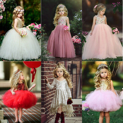 US Flower Girls Long Dress Princess Lace Flower Bridesmaid Formal Party Dresses