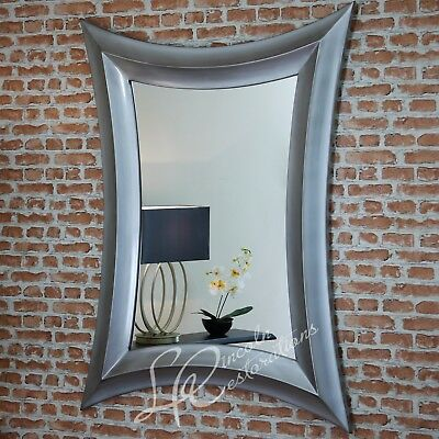 Antiqued Metallic Silver Landscape / Portrait Mirror  LARGE - 138x100cm New