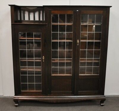 Stunning Antique Blackwood Leadlight Bookcase * Display Cabinet  c1920s