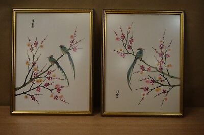 2 Vintage Oriental Pictures Birds On Blossom Tree Printed On Fabric & Framed