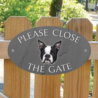 Please Close The Gate Sign, Dog Gate Plaque Boston Terrier Gate Sign Stone Style