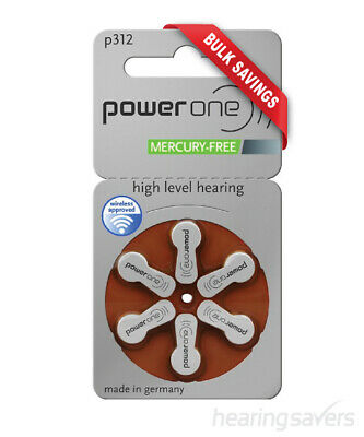 NEW Power One Hearing Aid Batteries p312 (size 312) MF from Hearing Savers
