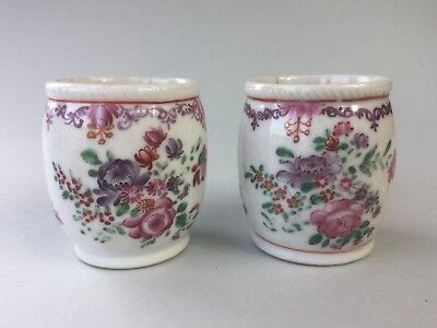 Two 18th C. chino Famille rose mostaza frascos