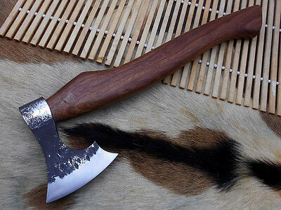 """15"""" High carbon steel mountain hiking axe knife / Rose wood Handle"""