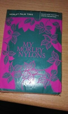 """New - Morley - Pair of Vintage Fancy Nylon Stockings """"Palm Tree"""" - Size 9.5-10"""
