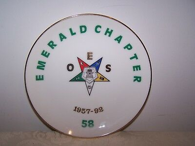 OES 6 3/8'' PLATE ORDER OF THE EASTERN STAR EMERALD CHAPTER 58 - Kentville NS