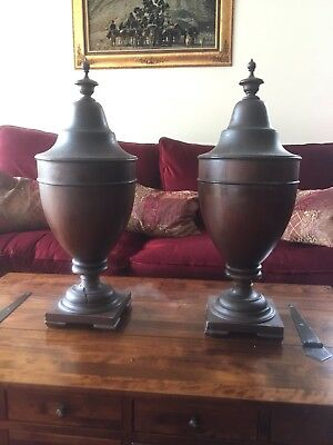 A Fine Antique Pair Of George lll Mahogany Cutlery Urn Boxes Circa 1810,Damaged!