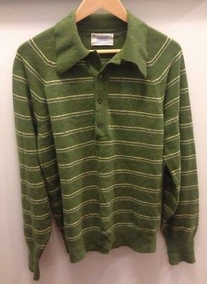Vtg Thane 2-Ply Wool Sweater 70'S 80's Mens L Collar Green Stripe Hipster USA