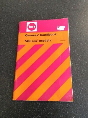 Bsa 500cm3 Models Owners Handbook