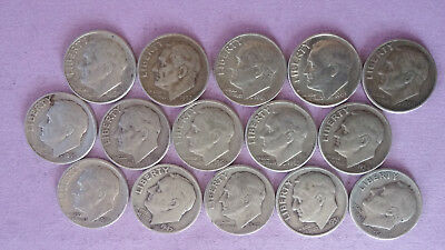 R076 Roosevelt 90% silver dime lot of 15 coins combine ship + $1 more per win