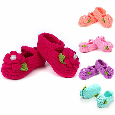 Crochet Casual Baby Girls Crib Shoes Handmade Knit Sock Flower Shoes 0-12M
