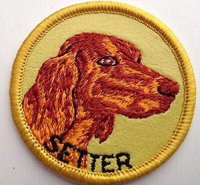 Vintage IRISH SETTER Dog Embroidered Sew-On Patch 1970s Made in USA Unused NOS