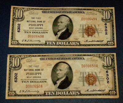 2 PHILIPPI WV 1929 West Virginia $10 National Currency CONSECUTIVE SERIAL # No.