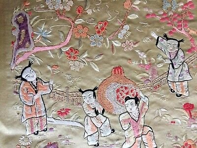 Vintage Chinese Silk Embroidery Panel