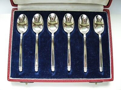 Cased Set 6 Solid Silver MAPPIN & WEBB CORONATION Tea Spoons Teaspoons - 73.8 gr