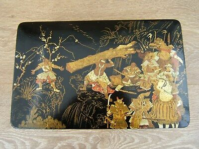RARE LARGE 19c JAPANESE HAND PAINTED ANTIQUE JEWELLERY BOX - FAB INTERIOR