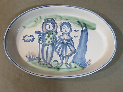 "M.A. Hadley Pottery Large 16"" x 10½"" Platter with Farmer & Wife Signed 1950s"