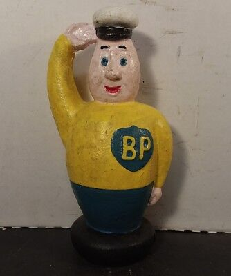 Large Cast Iron BP MAN Vintage Auto GAS & OIL Garage Decor Collectible BANK