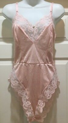 VTG MAIDENFORM CHANTILLY Pink Satin & Wide Lace Teddy Bodysuit Size 34 Small USA