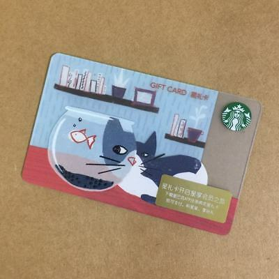 2018 Starbucks China Special Edition Cat and Fish Gift Card Pin intact