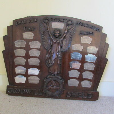 antique Bath First Aiders 'Goodwill Shield' large wood shield silver plated