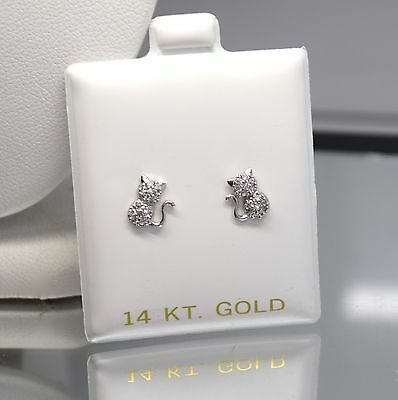14K Solid White Gold Round Cut Kitten Screw Back Stud Earrings 0.30Ct