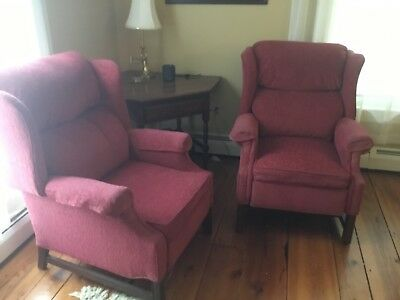 Pair upholstered recliner chairs