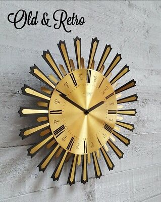 COOL MID CENTURY Vintage retro PRESIDENT Brass Sunburst Wall Clock