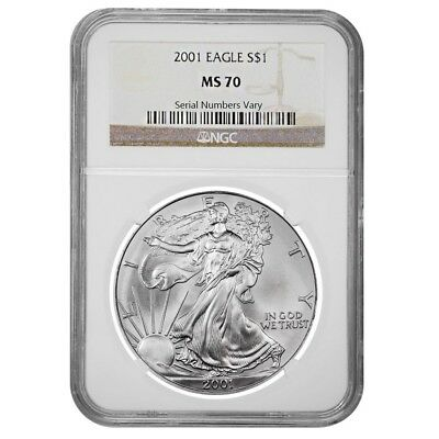 2001 1 oz Silver American Eagle $1 Coin NGC MS 70