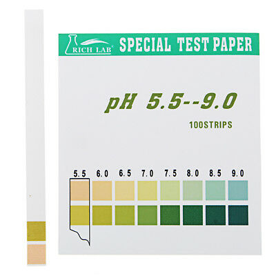 Precision PH Test Strips Short Range 5.5-9.0 Indicator Paper Tester 100 Strips B