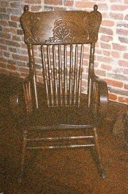 Antique Oak Victorian Carved Pressed Back Rocker Rocking Chair with Arm Rests