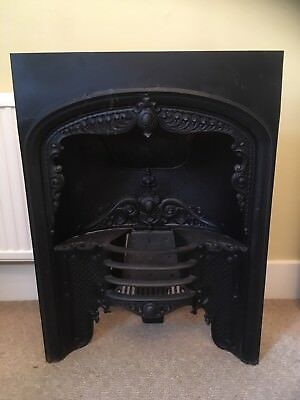 Victorian cast iron fireplace insert c1850. Regency hob grate style. Black.