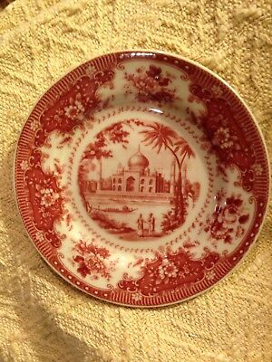 Red & Cream Transfer ware Butter Pats.  8 Available