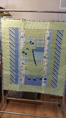 Hand made quilted giraffe youth quilt