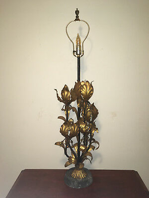 Vintage Italian Tiered Lotus Blossoms 6 Light Tole Table Chandelier-Granite Base