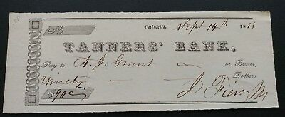 Tanner's Bank Catskill New York 1853 Cancelled Check
