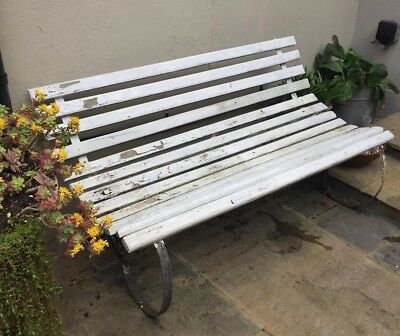 Super Vintage Wooden Garden Bench With Metal Frame Legs 26 00 Caraccident5 Cool Chair Designs And Ideas Caraccident5Info
