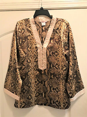 New!   Robert Louis - Sexy Snakeskin Print Silky Feel Night Top!   Sz M   Nwt!