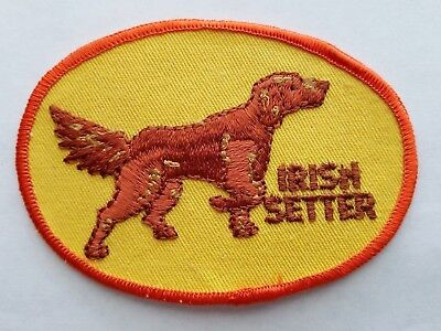 Vintage IRISH SETTER Dog Embroidered Sew-On Patch 1970s Made in USA