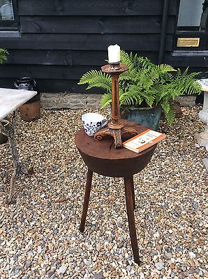 19th Century Primitive Elm Topped Block Cider Cricket Table Coffee Lamp Bedroom