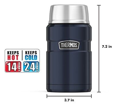 Thermos Stainless King 24-Ounce Food Jar, Midnight Blue, New