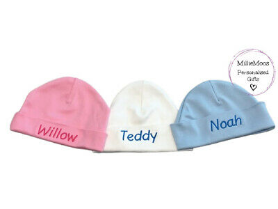 Personalised Baby Beanie / Knotted Hat - Add Any Name - Keepsake Girl Boy Gift