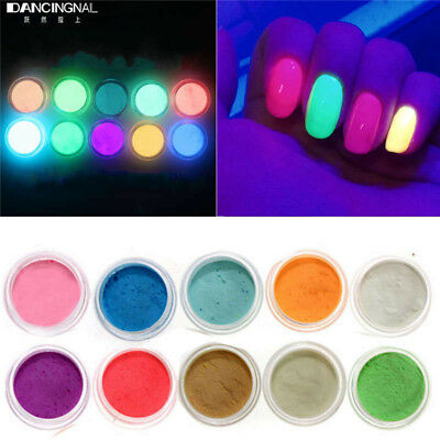 3D Glow In The Dark Powder Luminescent Acrylic Nail Painting Neon Fluorescent Uk