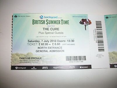 The Cure 7 July 2018 London 1 biglietto ticket Londra