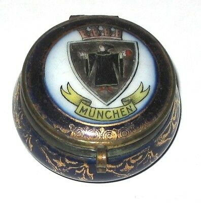 Antique Hand Painted Munchen Porcelain Snuff, Patch, Or Pill Box