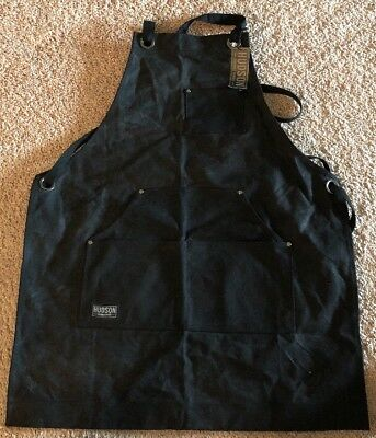 Canvas Waxed Work Apron HUDSON Heavy Tool Pockets Metalwork Blacksmith Carpenter