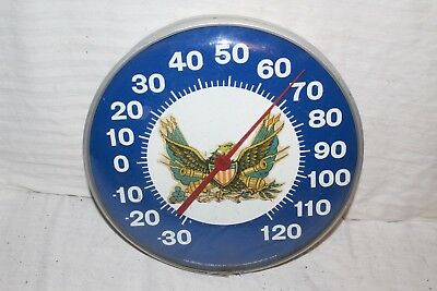 "Rare Vintage 1960's American Eagle Flag Army Oil Gas 12"" Metal Thermometer Sign"