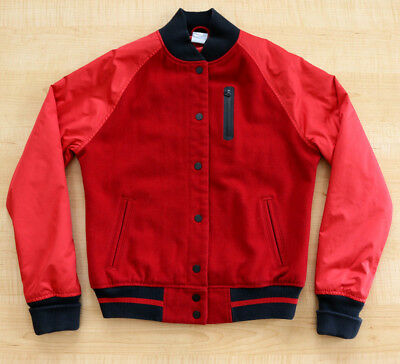 Nike Sportswear Red Wool Bomber Destroyer Jacket Sz.m! Nylon Sleeves,rare,og,vtg