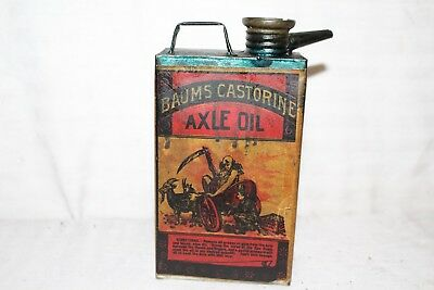 Rare Vintage c.1900  Baum's Castorine Axle Oil Metal Can Farm Wagon Car Gas Sign