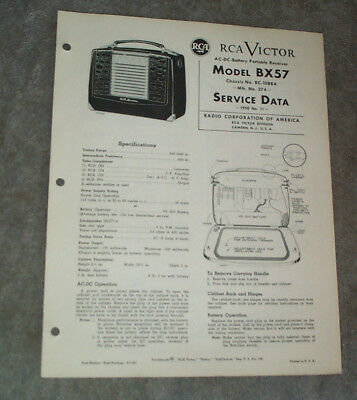 RCA Original Service Data Manual 1950,No.11 1st Ed.AC-DC Portable Radio BX57